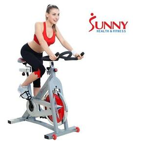 NEW* SUNNY INDOOR CYCLING BIKE SUNNY HEALTH AND FITNESS BICYCLE - FITNESS EXERCISE EQUIPMENT - SILVER 107602036