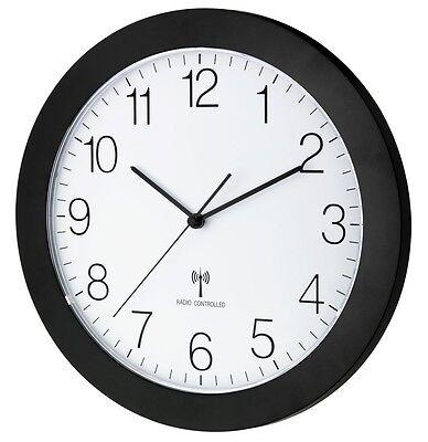 TFA 60.3512.01 Funkwanduhr analog Funkuhr Sweep Uhrwerk Lautlos schwarz 300mm