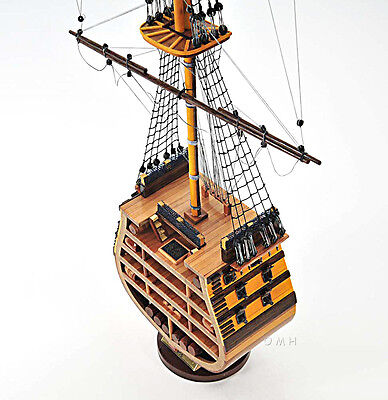 "HMS Victory Cross Section Wooden Tall Ship Model 35"" Lord Nelson's Flagship"