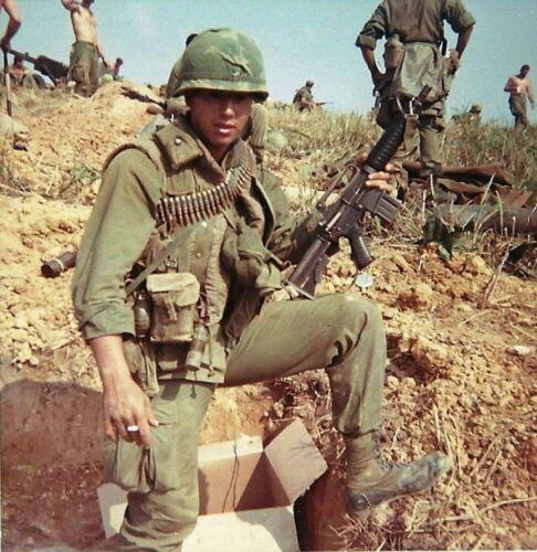 Vietnam War USMC Marine Holding His M4 Carbine At Base Grainey Glossy 8x10 Photo