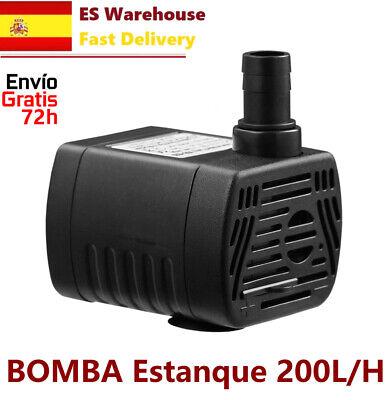 BOMBA AGUA SUMERGIBLE de 200L/H 3W Acuario Fuente Estanque Hidroponia