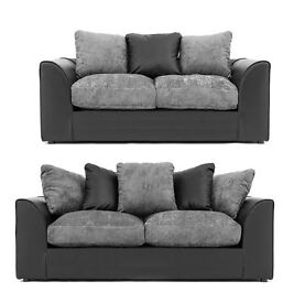 BRAND NEW BLACK AND GREY CHENILE 3+2 BRAND NEW FAST DELIVERY
