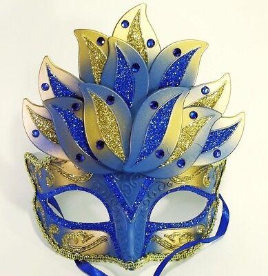 MASCHERINA VENEZIANA decorata fiore loto venezia maschera domino blu 2605d8855a20