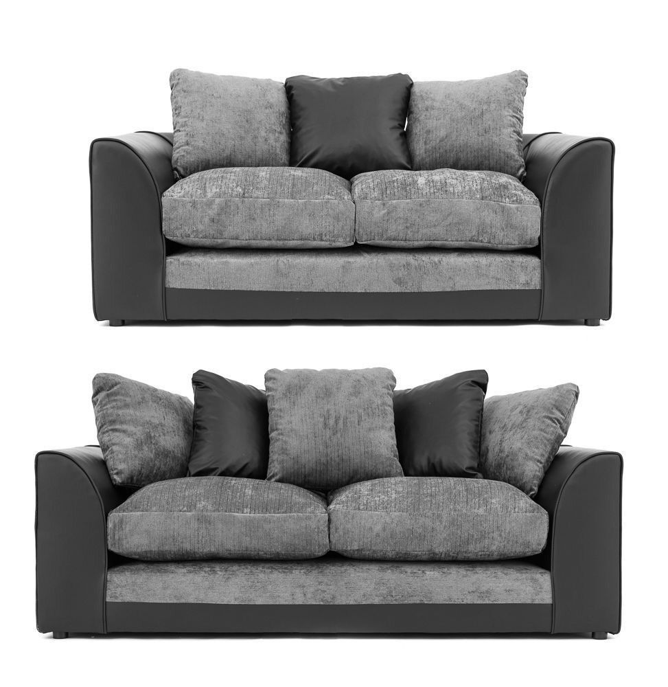 Stunning black faux leather and grey fabric sofa range | in ...
