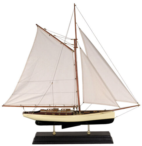 """1930s Classic Yacht Large Sailboat Model 35"""" Wooden Nautical Decorative New"""