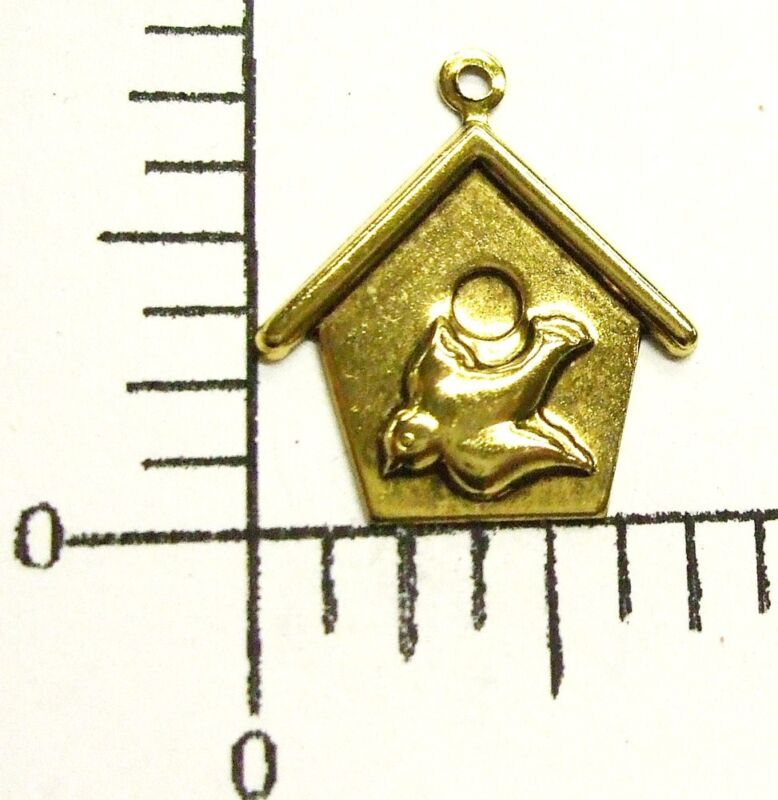 35861         12 Pc. Antique Gold Victorian Birdhouse Jewelry Finding Charm SALE