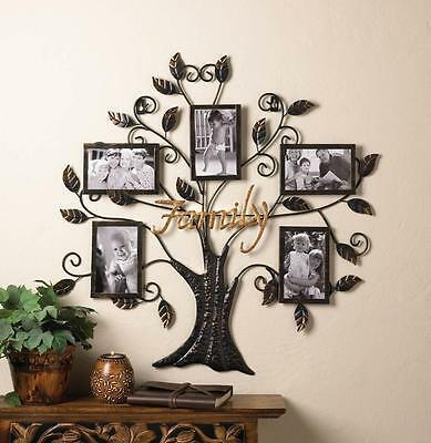 "FAMILY TREE  FRAME HOLDS FIVE  4"" X 6""  PHOTO WALL ART DECOR-10015960"