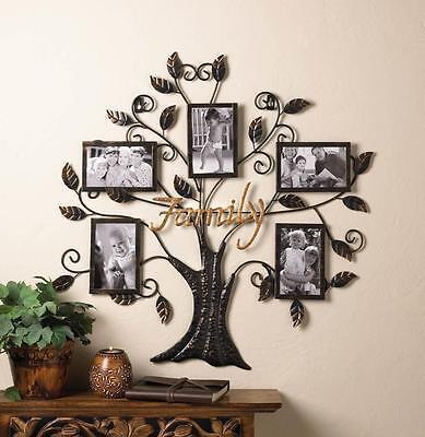 "FAMILY TREE  FRAME HOLDS FIVE  4"" X 6""  PHOTO WALL ART DECOR-10015960"