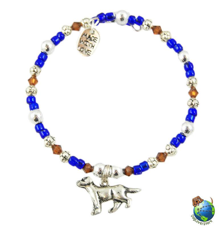 Labrador Beaded Charm Bracelet Silver Handmade