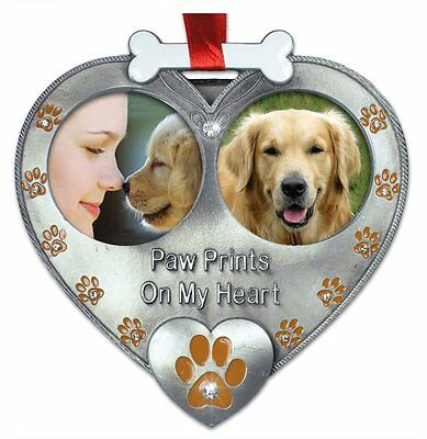Memorial Dog Photo Ornament  Double Picture Jeweled Crystals Loving Pet Memory