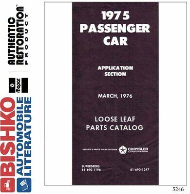 OEM Digital Repair Maintenance Parts Book CD Mopar Chrysler/Dodge/Plymouth 1975 Dodge Oem Parts Cd