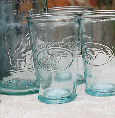 Set of 6 Spanish recycled green glass milk cow drinking tumbler glasses