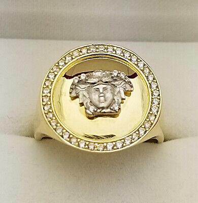 10K Yellow Gold Men's Medusa Face Ring Versace Symbol Ring