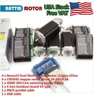 Usa 4 Axis Nema 23 Stepper Motor 425oz 112mm Dual Shaft Cw5045 Driver Cnc Kit