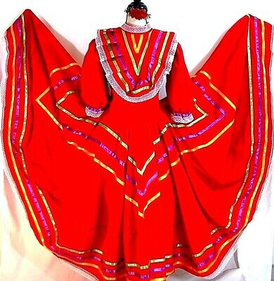 Authentic red Mexico Jalisco folkloric dance dress 5 de Mayo rodeo adult NWT - Rodeo Outfits For Women