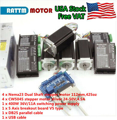 Usa4 Axis Nema 23 Dual Shaft Stepper Motor 425oz-in 112mmcw5045 Driver Cnc Kit