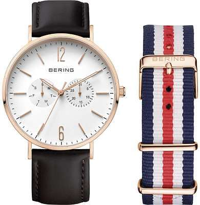 Bering Time - Classic - Unisex Pink Multifunction Watch w/ 2 Straps
