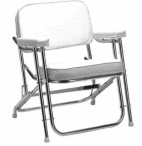"Seachoice 78501 Folding Deck Chair (1"" Anodized Aluminum) White Vinyl Marine LC"
