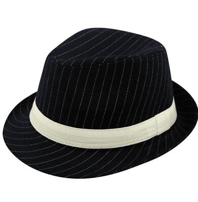 Mens Deluxe Black Al Capone Fedora Pin Stripe Gangster Trilby Hat Accessory - Fedora-pin