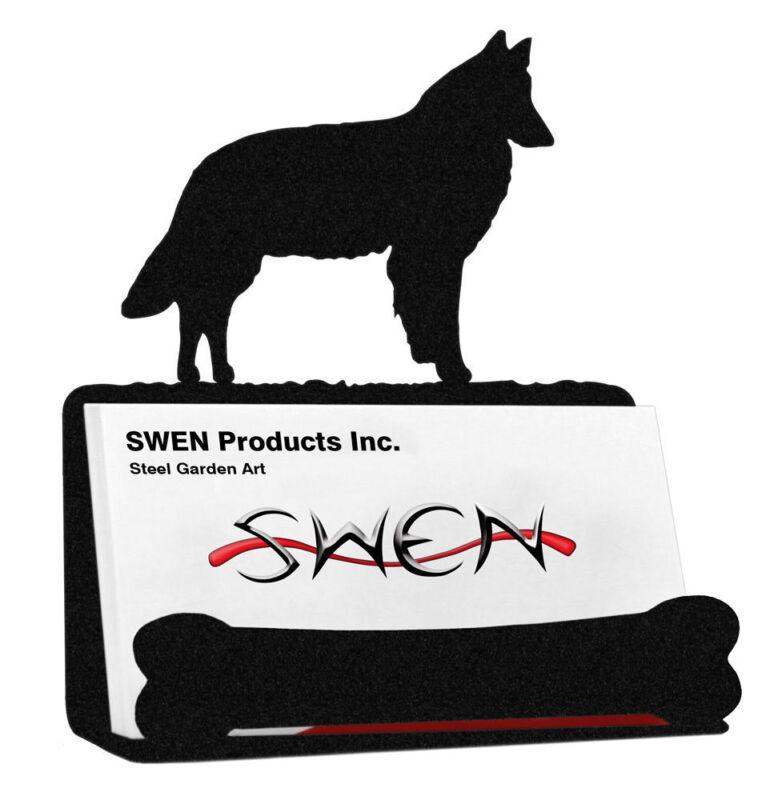 SWEN Products BELGIAN SHEEPDOG Black Metal Business Card Holder