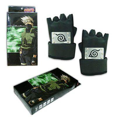 Leather Ninja Gloves Naruto Hatake Kakashi Gauntlets Cosplay Anime Konoha symbol