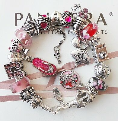 Authentic PANDORA Silver Charm Bracelet with Vacation Love Heart Charms Beads