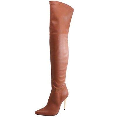 Metal Heel Thigh High Boots - New Women's Thigh High Pointed Toe Boots Metallic Stiletto High Heel 5.5 & 6