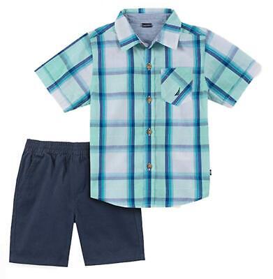 Nautica Toddler Boys Plaid Mint & Blue Shirt 2pc Short Set Size 2T 3T 4T $59.50