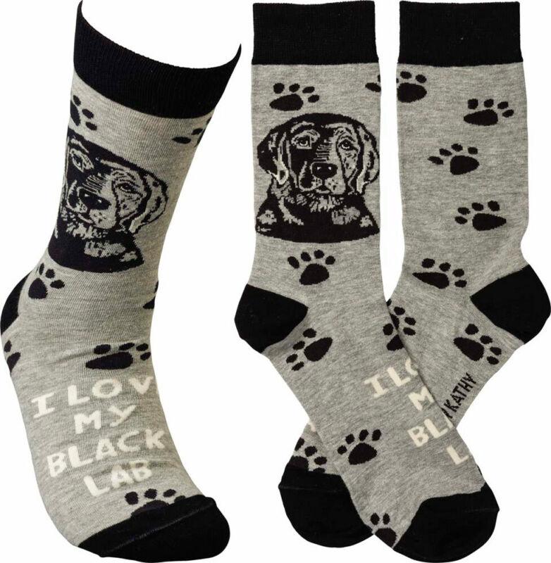 Black Lab I Love My Dog Socks