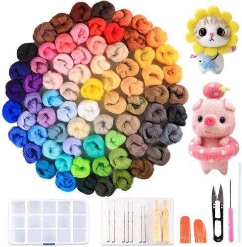 Nice! Felting Kit Complete 72 Colors Wool 216g Needles Tools Foam Pad Craft