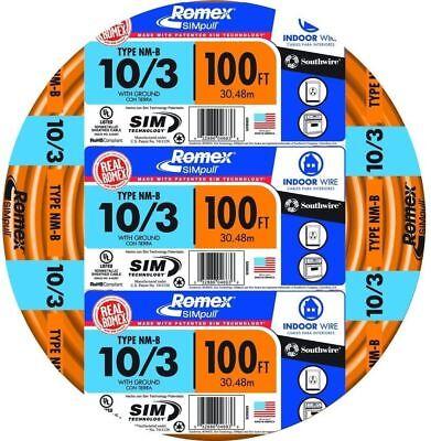 Southwire 100 Ft. 103 Solid Romex Simpull Cu Nm-b Wg Copper Wire In Orange