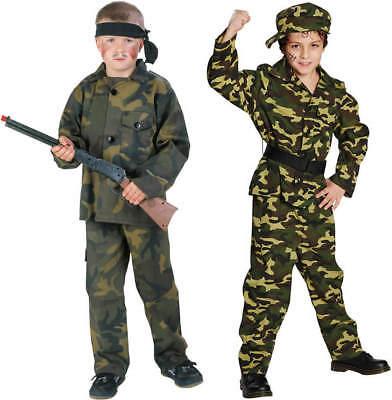 Armee Kinder Kostüme (Kämpfer Soldat Cadet Armee Army Kinder Karneval Fasching Kostüm 116-164)