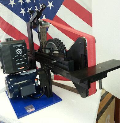 """AMK-77 2X72 Belt Grinder, VFD 1.5hp motor, 12"""" Serrated Wheel Upgrade"""