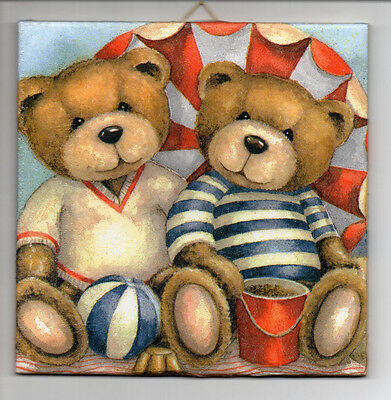 Dekofliese Bildfliese Wandfliese Geschenkidee Teddys am Strand (024)