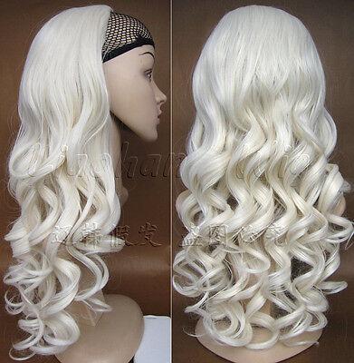 Fashion Platinum Blonde Wig Fall 3 4 Half Wig Curly Wig Long Blonde Hair Fall