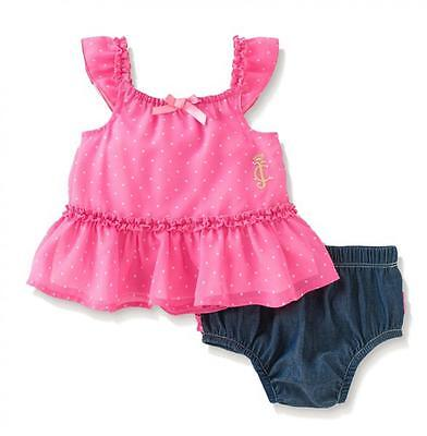 Juicy Couture Infant Girls Pink Chiffon Top & Diaper Cover Set Size 12M 18M 24M