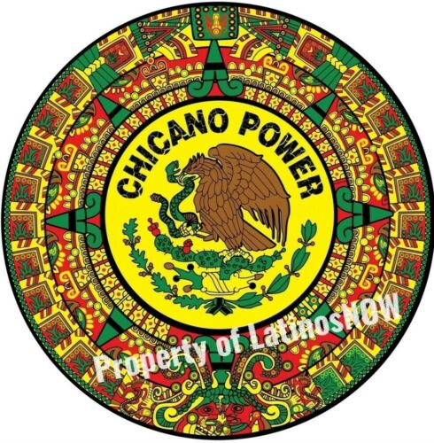 CHICANO POWER WITH AZTEC CALENDAR NEW FULL 2 X 2 FOOT BANNER LATINOS NOW DESIGN