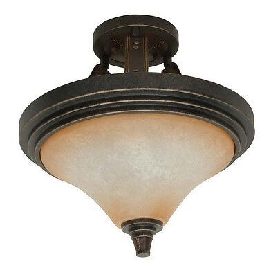 Golden Umber Energy Star Semi Flush Ceiling Light With Burnt Sienna Glass Nib
