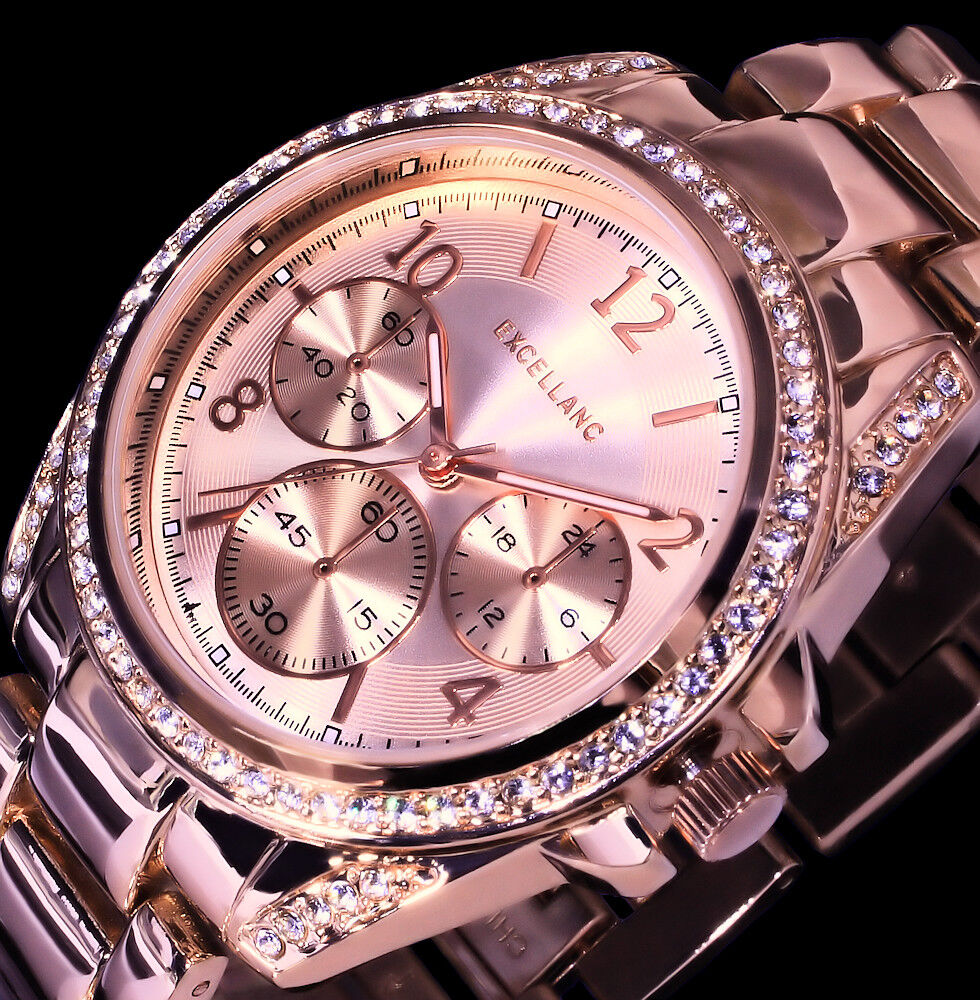 Excellanc Geschenk-Set Damen Armband Uhr Armreifen Rose Gold Farben Strass