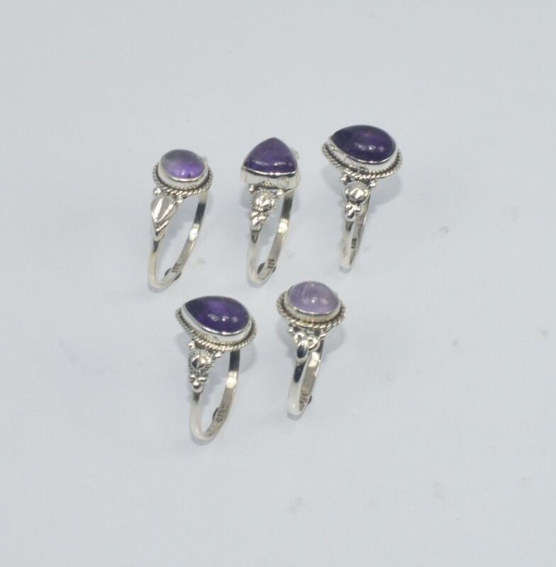 WHOLESALE 5PC 925 SOLID STERLING SILVER PURPLE AMETHYST RING LOT GTC308 O r889