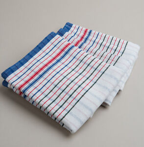 New 20 PCs Heavy Duty Commercial 100% Cotton RED BLUE VINTAGE STYLE tea towels