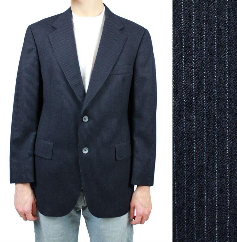 Christian Dior Pinstripe Blazer 38S Vintage 60s 70s Dark Midnight Blue Jacket 38
