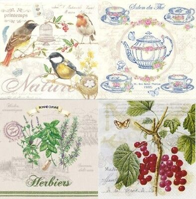 4x Differetn Single Table Party Paper Napkins Decoupage Nuova Herbs/ Nature