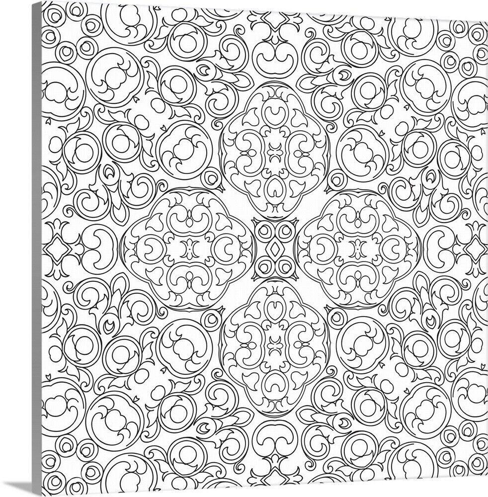 DIY Coloring Book Canvas Art entitled Baroque Pattern