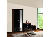 Mirrored Black High Gloss 3 Piece Bedroom Furniture Set - Wardrobe Chest Bedside