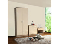 HIGH GLOSS 3 PIECE BEDROOM FURNITURE SET - WARDROBE CHEST BEDSIDE- CREAM / OAK