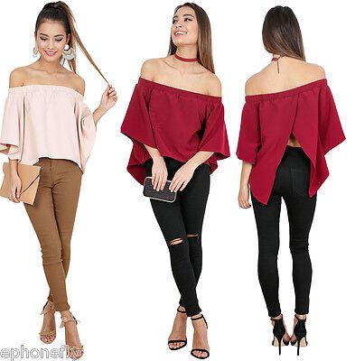 Us Women Off Shoulder Summer Fashion Shirts Casual Blouse Tops Loose T Shirt