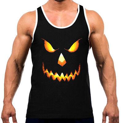 Men's Pumpkin Skull Face Black Tank Top WT Scary Evil Halloween Muscle Workout