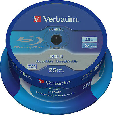 25 Verbatim Rohlinge Blu-ray BD-R 25GB 6x Spindel
