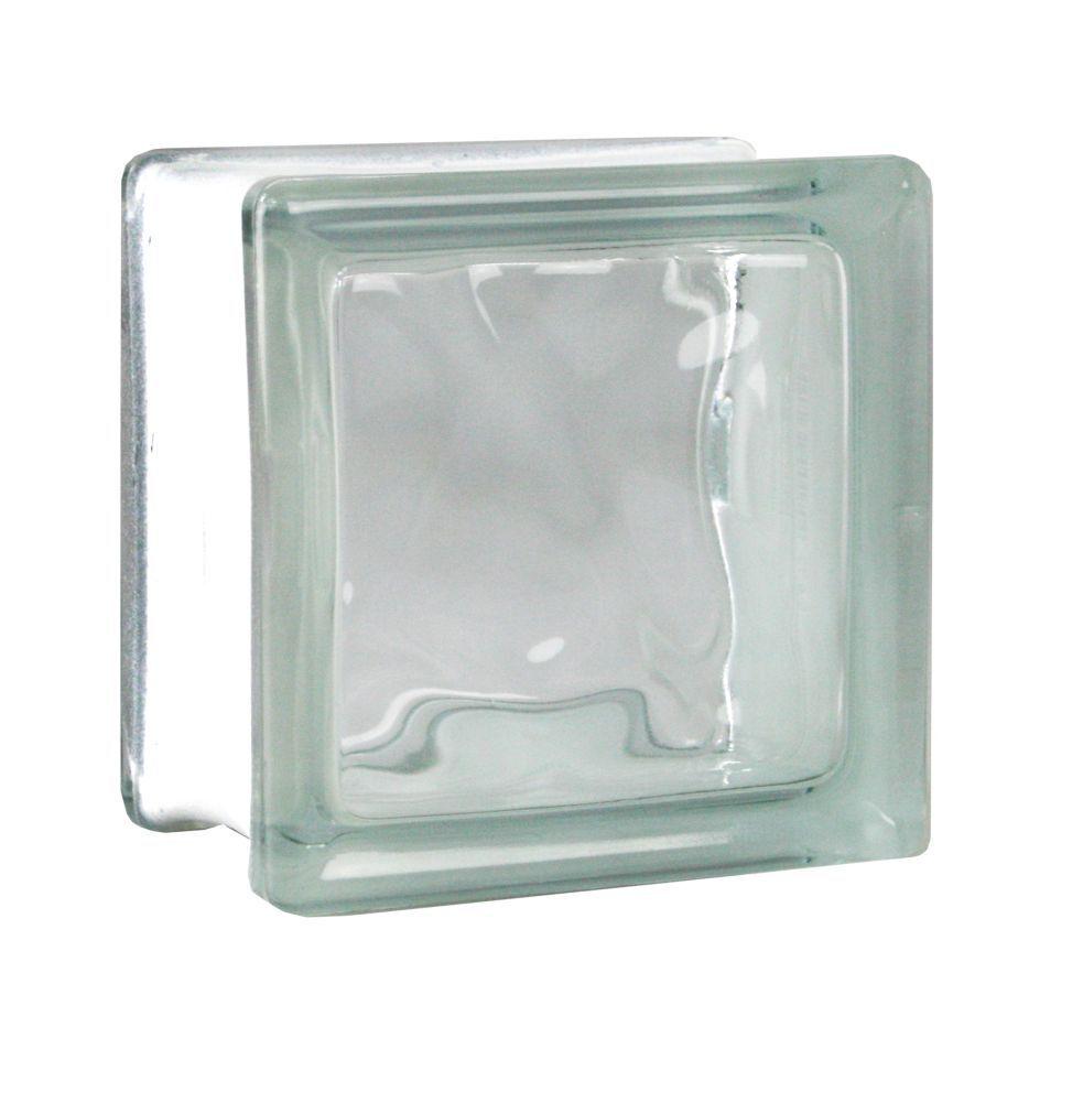 1 Stück Fuchs Glasbausteine Glassteine Bauglas Wolke Klar 11,5x11,5x8cm